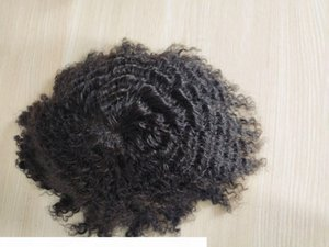 Afro Wave Hairpiece Replacement System 100% Virgin Hair Real Human Hair short Top of head patch men toupees human hair toupee thin skin