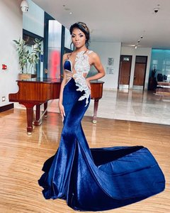 2021 Plus Size Arabic Aso Ebi Royal Blue Mermaid Prom Dresses Lace Beaded Sheer Neck Velvet Evening Formal Party Secoond Reception Gowns ZJ206