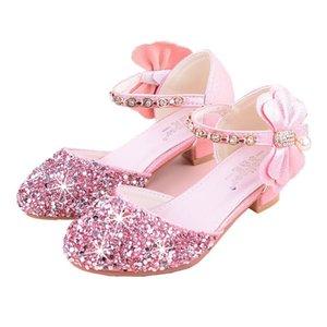 SkoEx Kid's Girls Princess Shoes Rhinestone Flower Sandalias Sandalias de Talón Sandalias Moda Niña para niños Boda Partido Zapatos 210402