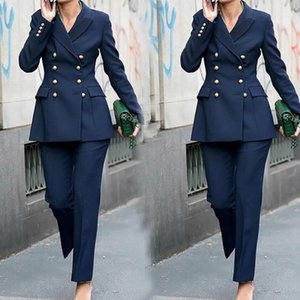 Spring Autumn Double Breasted Jacket With Pants Mother Of The Bride Women Suits For Wedding Business Blazer 2 Piece Sets 2021