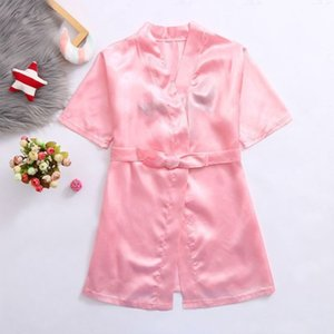 Niños Pijamas Robe Satin Children Kimono Robas Cumpleaños Regalo Flor Muchacha Vestido Seda Albornoz Nightgown Niños Albornoz 5 Tamaños 484 Y2