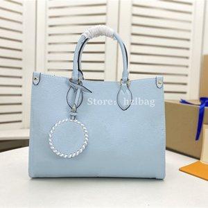 ONTHEGO MM Designers Womens Handbags Purses Summer Blue by The Pool handbag laptop bag Cream Saffron on The Go Totes bags M45718 M45717