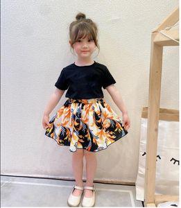 Летние девушки принцессы платья бренда одежда буквы печатных детей с коротким рукавом платье детей повседневная юбка девушка одежда