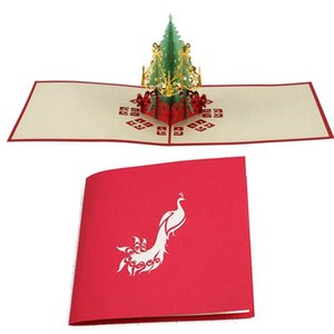 Greeting Cards 2 Pcs 3D Cut -Up Paper Handmade Gifts Souvenirs Postcards, Merry Christmas Tree & Peacock