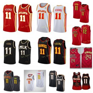 City Earned Edition Trae #11 Young Basketball Jerseys De'andre 12 Hunter Men Stitched Size S-3XL Black White Red