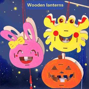 Halloween DIY children's cartoon creative animals, wooden lanterns, manual education toys, handicrafts