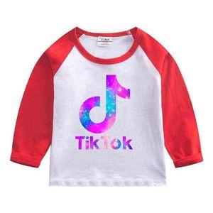 Tik Tok Kids T-shirt 2021 Spring Autumn Tiktok Print Children Long Sleeves Tee Bottoming Shirt Round Neck Patchwork Tops Clothing 7 Colors G4YAPEQ