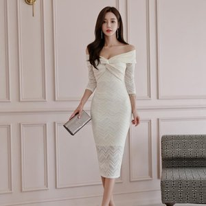 Robe de dentelle blanche Une pièce dames coréennes sexy à l'épaule à moitié sans manches de la soirée nuit robes serrées pour femmes vêtements occasionnels