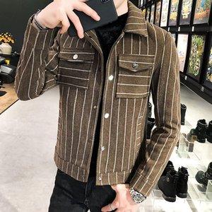 한국식 짧은 모직 자켓 Abrigo Largo Hombre Mens 완두콩 코트 겨울 코트 슬림 피트 남자 모직 자켓 남자
