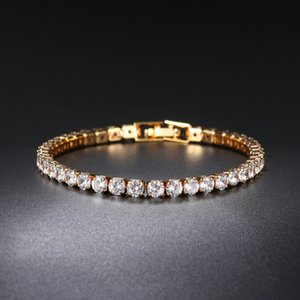 Zircon Bracelet Single row 4mm round full drill tennis chain Hip hop jewelry