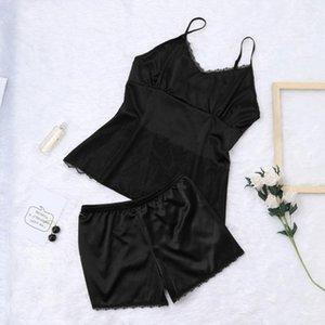 2019 pajamas for women pajama New Womens Sexy Satin Lace Trim Sling Sleepwear Lingerie Set Underwear#3
