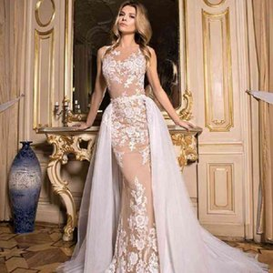 2021 New Design Overskirts Wedding Dresses Detachable Train Illusion Back With Appliques Garden Bridal Gown Mermaid Sexy Dress For Weddings