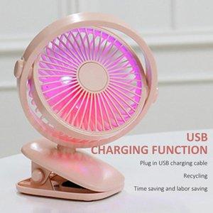Summer mini usb gadget clip fan 360 Degree Rotation With LED Light Retail Box Free DHL