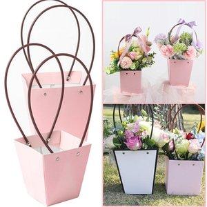 10pcs Portable Flower Box Waterproof Paper Handy Gift Bag Kraft Handbag Wedding Rose Party Gift Box Packaging for Candy Cake DWD5889
