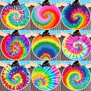 150-150cm Tie Dye Round Beach Towel With Tassels Colorful Unisex Ultra Soft Super Water Absorbent Blanket Large Microfiber Seaside Shower Bath Towels G424VT9