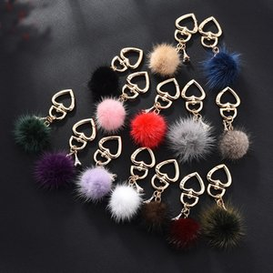 14 Styles Pompom Key Rings 4cm Artificial Rabbit Fur Ball Keychains Bag Charm Pendant Alloy Heart keyfobs Accessories Gift Kimter-P119FA