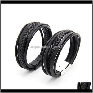 Favor Event Festive Party Supplies Home Garden Drop Delivery 2021 Mens Leather Bangles Men Magnetic Clasp Cowhide Weaving Multi Layer Wrap Br