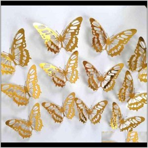 Décor Home & Garden Drop Delivery 2021 Creative 3D Stickers Textured Hollow Living Room Bedroom Decoration Simulation Butterfly Beauty Wall S