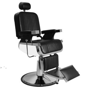 Hand Hydraulic Recline Barber Chair Salon Furniture for Hair Stylist Heavy Tattoo Chairs Shampoo Beauty Equipment Black BY SEA OWB10339