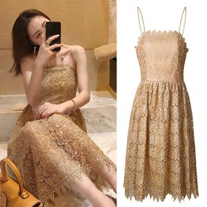 spring fashion 2021 ladies French GOLD SEQUIN lace suspender dress annual meeting 8298 2E7L