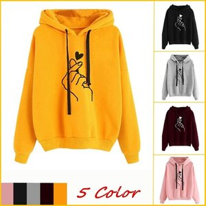 Hooded Women Love Hoodie Sweatshirts Printed Fingers Heart Sweater Reindeer Women's Girls Long Mouse Pullover Hoody Plus Size