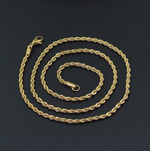 3mm Twist Chain Necklace Stainless Steel 16-0 Inches Men Women Jewellery