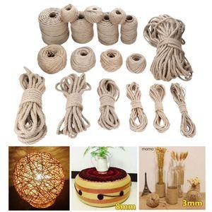 Natural Jute Rope Khaki Fabric Twine Rolls Twisted Cord Macrame String DIY Handmade Decor 1mm-12mm Diameter 10m-200m length