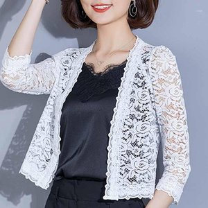 blouse women 2020 blusas camisas mujer V-neck hollow lace blouse shirt women tops Cardigan white lace shirts D2521