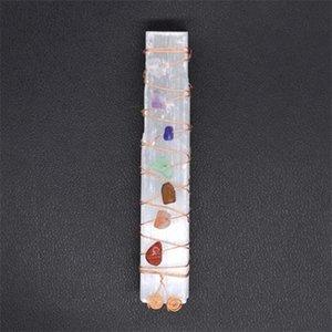 Siete Chakra Curing Crystals Piedras SELENITE STICK WAND PARA LA MEDITACIÓN DE YOGA MEDITACIÓN REIKI SIIKI BEADS ALAMBRE ENVIADA SANII QYLBCM EZRDD 403 Q2