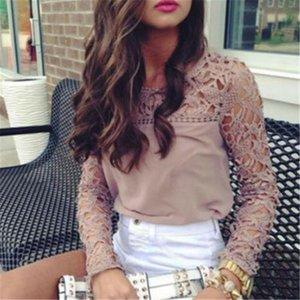 Женские блузки Элегантные кружевные блузка женская рубашка сексуальная вышивка вышивка женственный длинный фонарик рукав летом шифон топы женские
