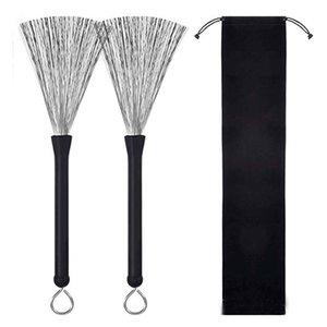 Wholesale Retractable Metal Black Drum Brush Kit 2pcs set Drums Accessories & Parts Set Stick Bundle Wire Brushes