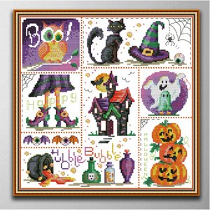 Halloween Handmade Cross Stitch Craft Tools Embroidery Needlework sets counted print on canvas DMC 14CT  11CT