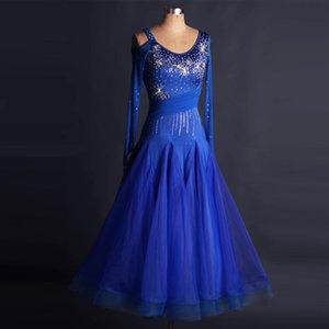 Custom Made Women's Rhinestone Long Sleeve Ballroom Dance Competition Dress Standard Performance Stage Wear