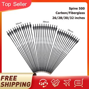 Spine 500 Carbon//Fiberglass Arrow 26//28//30//32 INCH Black OR White FREE SHIPPING