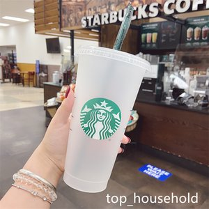 Mermaid Goddess Starbucks 24oz 710ml Plastic Mugs Tumbler Reusable Clear Drinking Flat Bottom Pillar Shape Lid Straw Cups mug