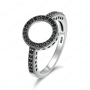 Vintage Silver Rings Cubic Zirconia Black Circle Round Elegant Finger Ring For Women Ladies Crystal Inlay Wedding Jewelry Gift