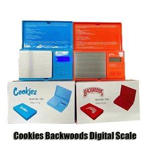 Kekse Backwoods digitale Skala rot blau genau 700g 0.1g Schmuck Gold Tabak-Stash-Gewicht Vapes Messgerät Flip-Stil-Maß-Kit