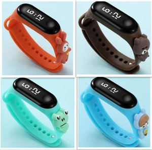 Newest Creative Waterproof Cartoon Kids Watches LED Digital luminous Display Clock Colorful Candy Silicone Flower Frog Rabbit Animal Bracelet For boy Girl Gift