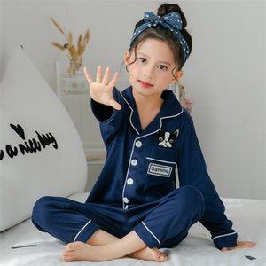 Spring and autumn children&889s long sleeved pajamas suit for kids 100%cottonSilk girls boys household clothes children Designer 742 V2
