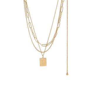 Золотая слоистые ожерелье набор 3 шт. Для женщин Девушки изысканные модные скрепки змеи колье золота заполнены из нержавеющей стали
