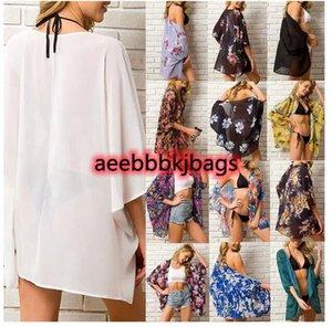 Cover-ups Summer Chiffon Women Bikini Cover Up Floral Kimono Beach Cardigan Sheer Bloues Swimwear Tops 20211
