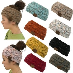 Colorful dot knitting twist hair band with CC LOGE ponytail hat empty top wool hat DH hat