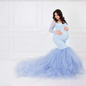 Sexy Lace Shoulderless Pregnancy Dress Photography Long Sleeve Mesh Maternity Maxi Gowns For Photo Shoot Pregnant Women Dress Y200805