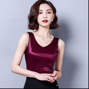 Top Women Tank Summer V Neck Chiffon Vest Sleeveless Casual Blusas Tops Silk Patchwork T Shirt Bottom Camisole White