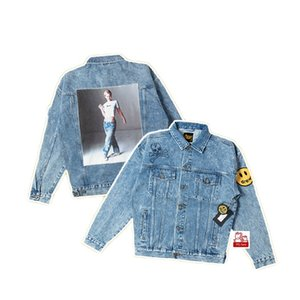 Drew house Bieber smiling face skull badge star taped denim jacket