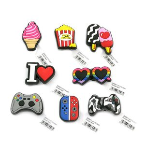 10pcs + casual high quality custom shoe charms with tag wholesale jibitz for croc soft rubber pvc charm accessories plastic ornaments as gift