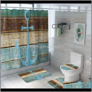 Mats 4Pcsset Set Nonslip Planks And Anchor Bath Mat Coral Fleece Shower Curtain Floor Washable Bathroom Toilet Rug Wfpcw Xxok6