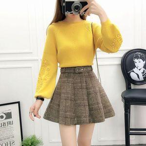 Women's Two Piece Pants Plaid Umbrella Belt Skirt Suit Round Collar Knitting Sweater Women Knitwear Clothing Set Vestido Beading Two-piece O