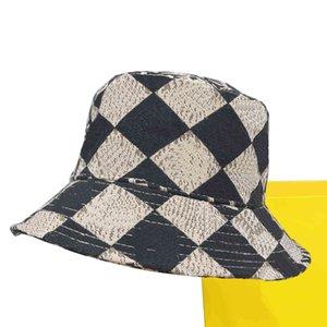 fitted Bucket Hat F Letter Fashion Minimalist High Style Brim Cap Womans Men All Season Ware Fishermen Caps Flat Plaid Casquette 4 Colors