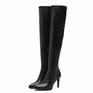 Bottes sur le genou femmes élastiques bottes d'hiver noires élastiques minces bottines à talons hauts dames sexy pointu pieds chaussures Botas mujer 2019 095e #
